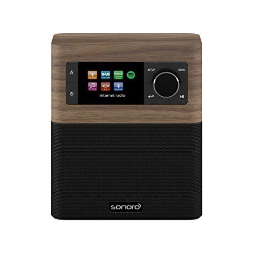 sonoro Stream Küchenradio (FM/DAB/DAB+/WLAN, AUX-in, Bluetooth, Spotify Connect) Walnuss/Schwarz - Internet-Radio für Küche und Bad