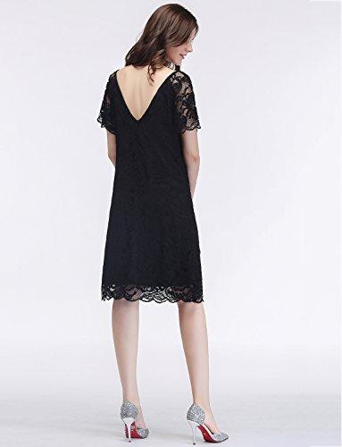Gardenwed Damen Vintage 1950er Cocktail Spitzenkleid Elastisch PartyKleid Abendkleid Kurz Brautjungfern Kleid Black
