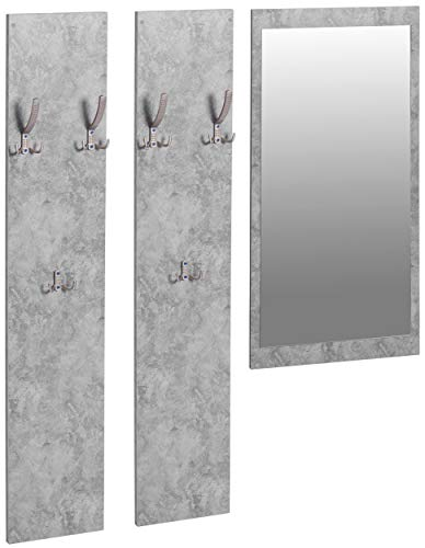 ts-ideen 3er Set Garderobe Spiegel + 2 Wandpaneele Flurgarderobe Kleiderhaken Betonoptik Grau