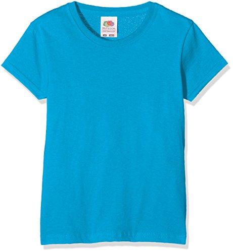 Fruit of the Loom Mädchen T-Shirt Valueweight T Girls, Blau (Azure Blue 310), 128 (Herstellergröße: 128 (7-8))