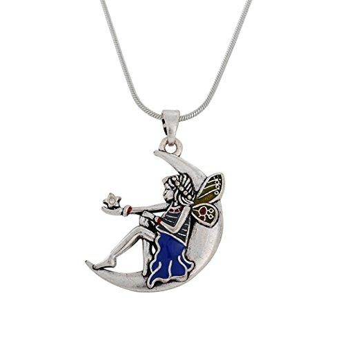 Skyrim Elegante Tinkerbell blau Emaille Engel Mädchen mit Flügeln sitzend auf Mond Anhänger Halskette Schmuck