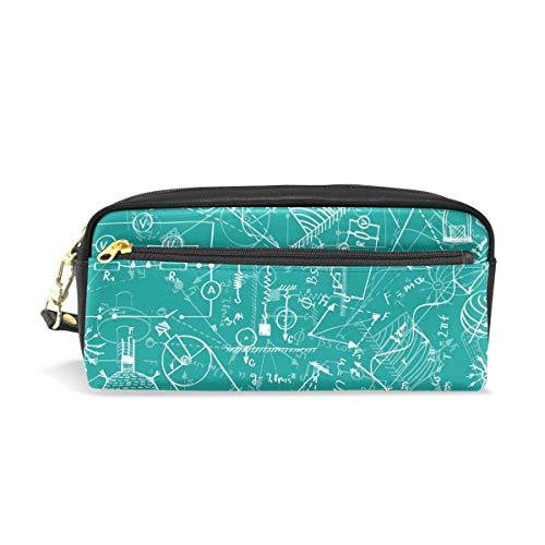 Physik Muster grün blau tragbare PU Leder Federmäppchen Schule Stift Taschen Schreibwaren Beutel Fall Make-up Kosmetiktasche große Kapazität