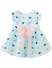 Covermason Bebé Niñas Pájaro Impresión Bowknot Princesa Vestidos