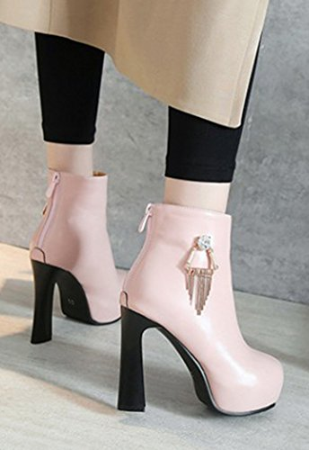 Plateforme Bottines Femme Talon Haut Rose Chic Boots Low Aisun Franges wXqHUwB