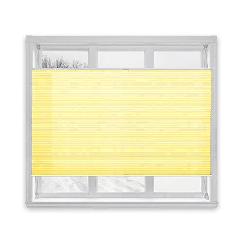 casa pura® Plissee Rollo   mit eleganter Crushed Optik   Klemmfix ohne Bohren   lichtdurchlässig & blickdicht   gelb   8 Größen (120x100cm) - 3