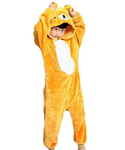 Ovender Kigurumi Pigiami Animali Unisex Bambina Bambino Bambini Costume Carnevale Halloween Cosplay Unicorno Stitch Gufo Zebra Giraffa Mucca Festa Party Onesies (XSaltezza 105-115cm, Orsetto)
