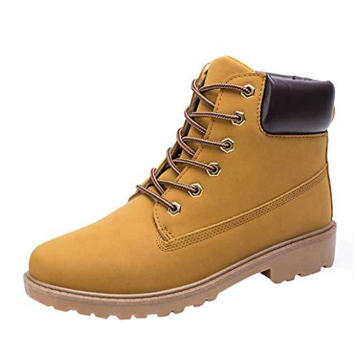 WWricotta Zapatillas Casual Hombres Botas Pieles Forradas de Caña Alta Moda Cómodas Calzado Andar Zapatos Planos Bambas con Cordones Botas Martin
