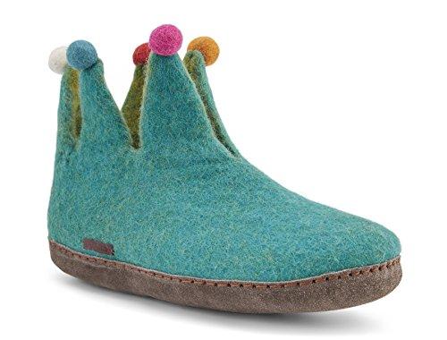 Betterfelt Handgefilzte Wollene Hausschuhe für Damen - Natürliche Wolle - Ledersohle - Große 36 - Hell Blau - Fairtrade - Narr Filzstiefel