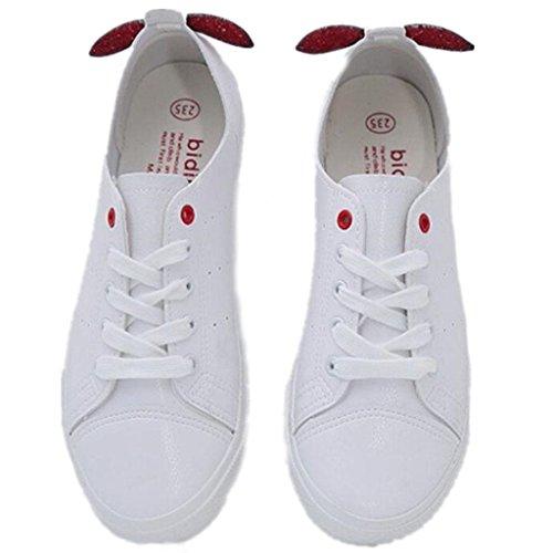 SHFANG Lady Shoes Estate Studenti classici Movimento di svago Convenienti studenti Decorazione piccola Due colori Red