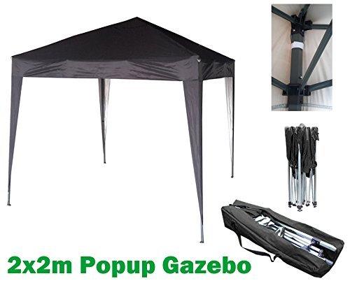 MCC 2x2m Pavillon, Gartenpavillon, Festzelt, Komplettset, Pavillon, Party Zelt (Schwarz)