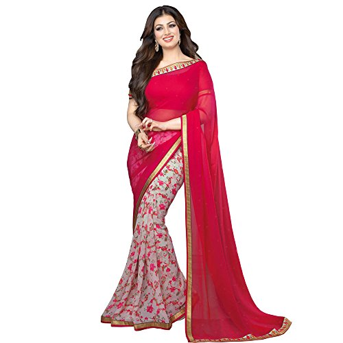 Raghav Trendz Women's Georgette Saree (Red)