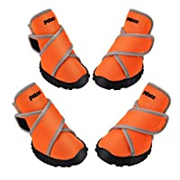 Petacc Dog Boots Waterproof Dog Shoes Pet Rain Boots Outdoor Shoes with Rugged Anti-Slip Sole, 4Pcs