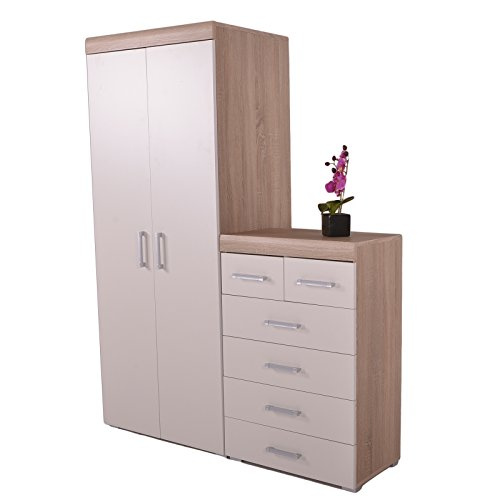 2 Door Wardrobe & 4+2 Chest of Drawers in White & Oak Bedroom Furniture 6 Set