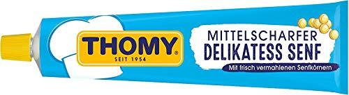 THOMY Mittelscharfer Delikatess-Senf aus braunen undgelben Senfkörnern (für Senf-Soßen, Kartoffelsalat, Brotzeit und Honig Senf Dressing) 1 x 200ml Tube