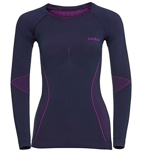 Odlo Shirt L/S Crew Neck Evolution Warm sous-Vêtements Femme peacoat - pink glo