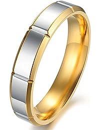 KONOV Joyería Anillo de hombre mujer, Compromiso, Alianzas de boda, Regalos san valentin, Amor, Clásicos, Acero inoxidable, Color oro plata (con bolsa de regalo)