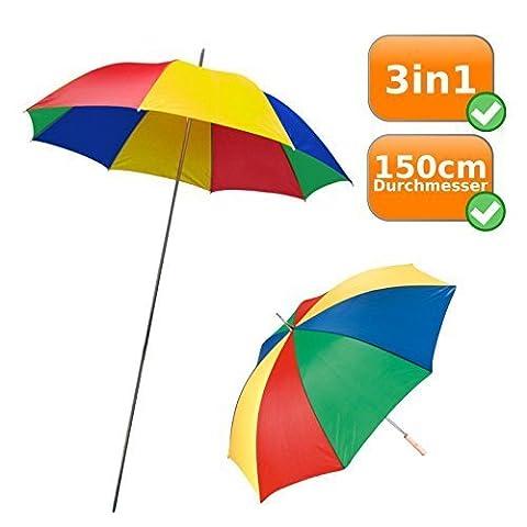 3in1 Schirm, Strandschirm+Sonnenschirm+Regenschirm, ideal für Kleinkinder, mit acht bunten Feldern