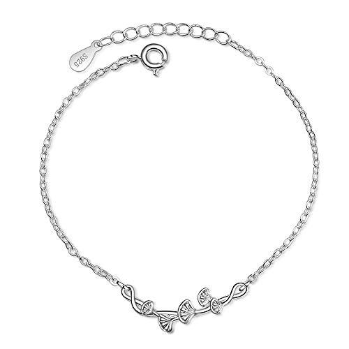 WANGJIA 925 Sterling Silber Ginkgo Biloba Silber Armband Schmuck Ginkgo Leaf Griff Hypoallergen Für Frauen Geschenke Leaf Griffe