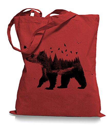 Ma2ca® Canada Bear Nature Bären Kanada Stoffbeutel Einkaufstasche Tasche Tragetasche/Bag WM101-classic_red (Kanada-stoff)
