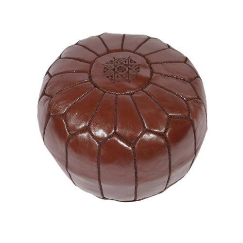 Puf de cuero marroquí color marrón chocolate (lleno) 55x55x30 cm OFERTA LIMITADA