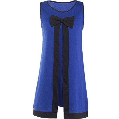 Adolpha Frauen Kleid lose kurze Hülse Art und Weise Mosaik runder Ansatz  Polyester Frühling Sommer Blue