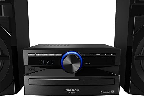 Panasonic Mini-System, 300 W, 2-Wege-Lautsprecher, Woofer:13 cm, CD-Player, CD-R/R W, Bluetooth, USB, 30 FM/15AM RDS, AUX, Audio-Qualität, blaue Beleuchtung, Schwarz FM/AM RDS-Radio blau