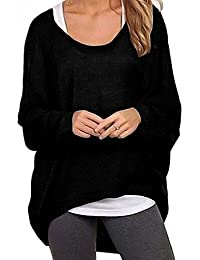 Yidarton Frauen Asymmetrisch Langarm Pullover Pulli Strickjacke Oversized Baggy Lose Jumper T-Shirt Tops Bluse