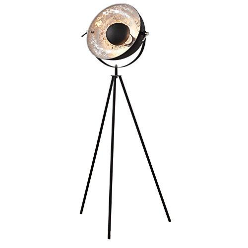 Moderne Design Stehlampe STUDIO schwarz Blattsilber Optik 140cm Stehleuchte Lampe