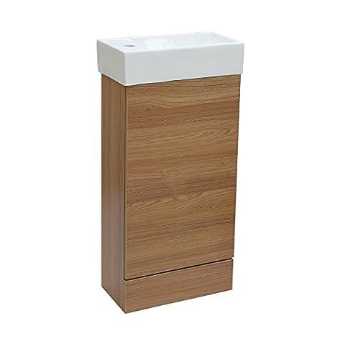 Enki Badezimmer Garderobe Boden Stehend Eiche Waschkommode Schrank Keramik Becken Horizon
