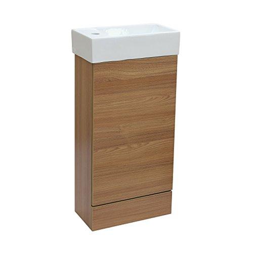 ENKI Waschbecken & stehender Unterschrank Eiche Holzoptik HORIZON