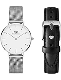 124107e671bd Daniel Wellington Classic Petite Sterling with Black Sheffield Leather  Strap and Silver Heart Charm - Watch