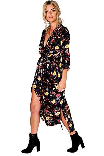 Damen Schwarz Amada Hemdkleid In Maxilänge Mit Blumen-print Schwarz