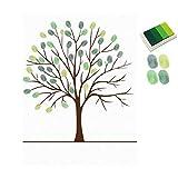 LANDUM Weihnachten Dekoration, DIY Tree Finger Print Leinwand Malerei Hochzeiten Signature Wanddekorationen, Canvas, grün, 2With Adhesive Glue