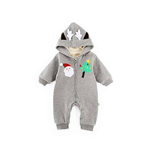 QSEFT Neugeborenes Baby Kleidet Weihnachtsbaby Langhülse Baby Onesies Weihnachtsmann-Spielanzug 0-24 Monate,Gray,66