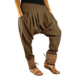Talla única ropa hippie para hombres y mujeres, pantalones bombachos hombre y mujer en algodón con tejidos tradicionales y cómoda cintura elástica - Unverschämt
