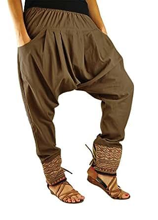 Pantalon ethnique unisexe de virblatt, avec des tissages traditionnels, avec une taille élastique et confortable, vêtements ethniques S - L Unverschämt