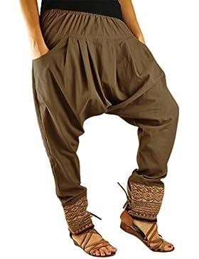 virblatt pantalones cagados mujer como ropa etnica para una moda hippie en talla única pantalones harem en algodón...