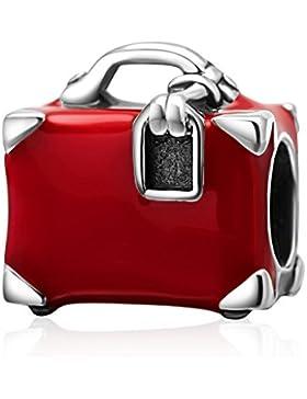 Rot Travel Koffer Charm echtes 925Sterling Silber Tasche Bead für European Stil Armband kompatibel
