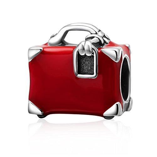 Charm a forma di valigia, in argento sterling 925, colore rosso smaltato, per braccialetti femminili