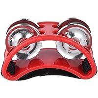Tamaño Compacto Pie pandereta Instrumento Musical de la percusión 2 Conjuntos metálicos Jingle Bell Mejor Regalo de la música del Instrumento