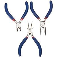 PandaHall Elite 3 sets Joyería artesanía bricolaje herramientas - Alicate punta redonda alicates de nariz plana cortador de alambre azul
