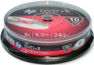Hewlett Packard DVD+R double couche 8x, 10 pièces en cake box