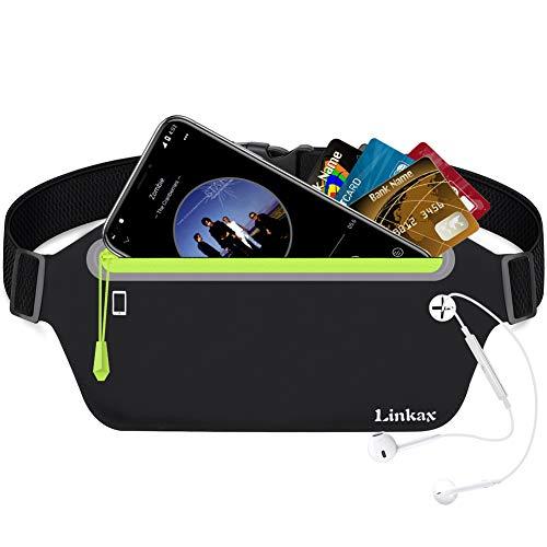 Linkax Sport Hüfttasche Bauchtasche Gürteltasche leichte wasserdichte Laufgürtel Lauftasche mit Kopfhöreranlass für alle Handys Größe unter 6 Zoll auf Laufen, Wandern und Outdoor Aktivitäten