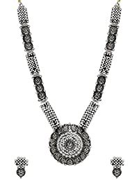 Zaveri Pearls Antique Silver Long Goddess Temple Necklace Set For Women-ZPFK6310