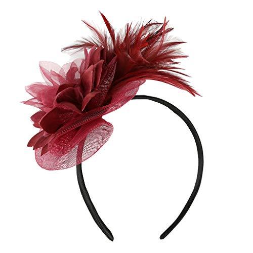 Kostüm Inspirierte Wein - WERVOT Haarreife Künstlicher Federnetz-Blumenkopfschmuck Haarbänder für Damen(Wein,24X22X1CM)