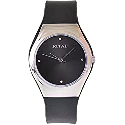 Women's Watch Rital Silver Metal Case Black Color Dial with Crystals Black Band / Simple Clean Design