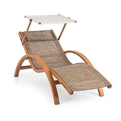 blumfeldt Acapulco • Gartenliege • Liegestuhl • Sonnenliege mit Dach • Sonnendach • ComfortMesh • Kiefernholz • ergonomisch • 150kg max. • Wetterfest • drinnen und draußen • inkl. Kopfkissen von Blumfeldt - Gartenmöbel von Du und D