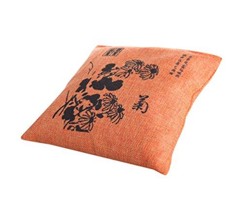 Zhiyuanan Natürliche Luftreinigung Mode Bambus Holzkohle Leinen Tasche Square Exquisite Drucke Holzkohle Geruch Absorber Tasche Bambuskohle Deodorizer für Haus Auto Orange 20*20cm