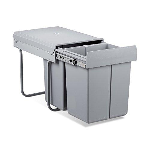 Relaxdays Poubelle tri sélectif recyclage 40 compartiments, HxlxP: 41,8 x 34,2 x 48 cm, 2 x 20 L, coulissant en plastique, gris