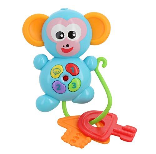 Infini Fun DES16560 Lustiger Affenschlüssel, Greifring, Beißer und Spielfigur in Einem, AFFE mit Schlüsseln und Tasten für Licht und Sound, Spielzeug für Babys ab 6 m+, Blauer
